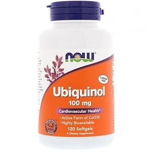 Now Foods, Убихинол, 100 мг, 120 гелевых капсул инструкция, применение, состав, противопоказания