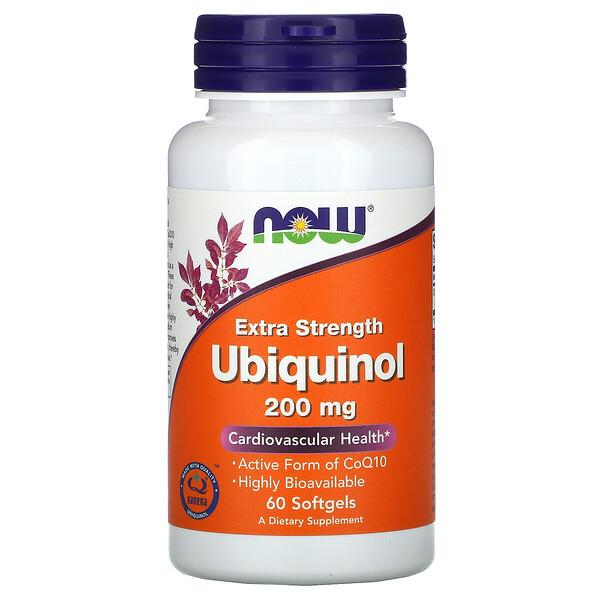 Now Foods, Ubiquinol (Убихинол), 200 мг, дополнительная выносливость, 60 гелевых капсул
