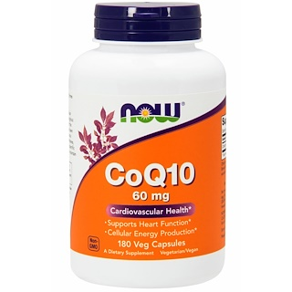 Now Foods, CoQ10, 60 mg, 180 Cápsulas Vegetais