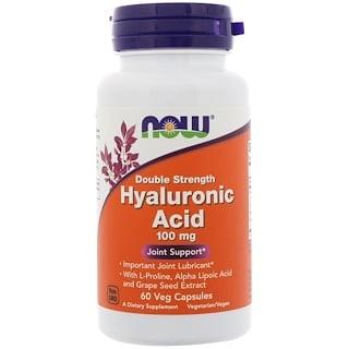 Now Foods, Hyaluronsäure, Doppelstärke, 100 mg, 60 Gemüsekapseln
