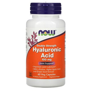 Now Foods, Hyaluronic Acid, Double Strength, 100 mg, 60 Veg Capsules