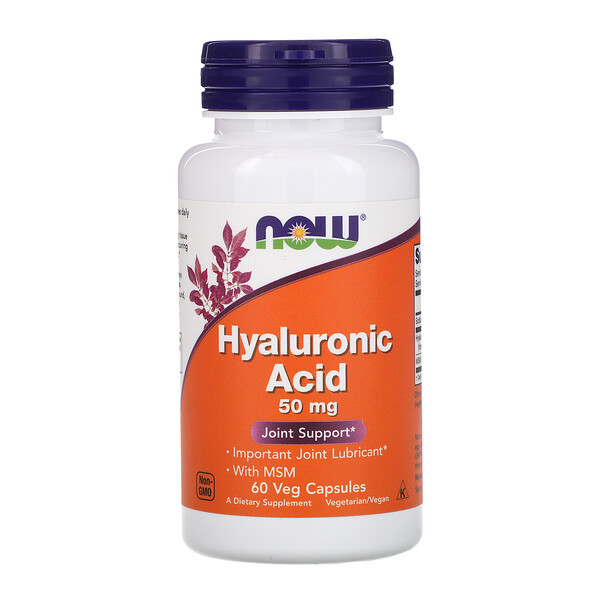 Now Foods, Ácido Hialurônico, 50 mg, 60 Cápsulas Vegetais