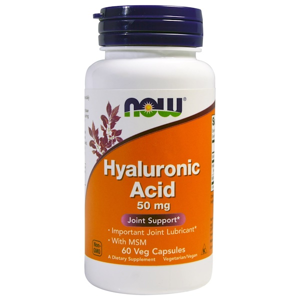 Now Foods, Acide hyaluronique, 50 mg, 60 gélules végétales