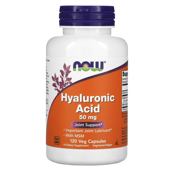 Hyaluronic Acid with MSM, 50 mg, 120 Veg Capsules