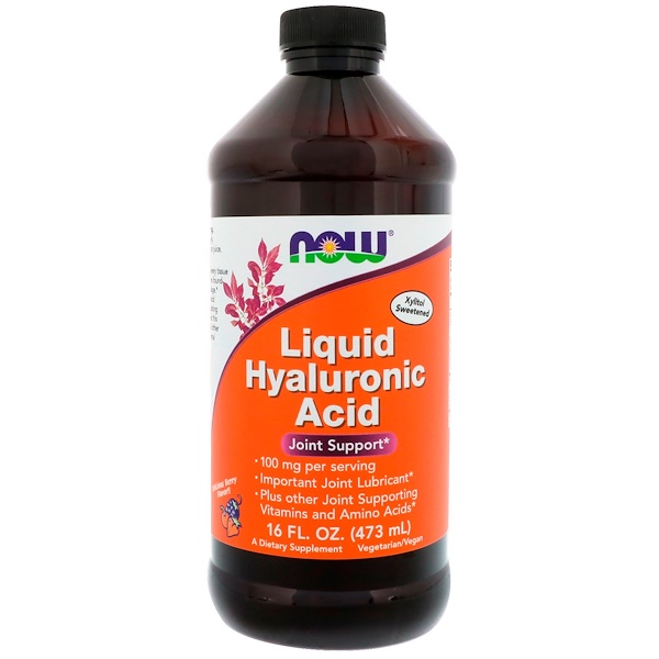 Now Foods, Ácido hialurónico líquido, sabor a frutos del bosque, 100 mg, 16 fl oz (473 ml)