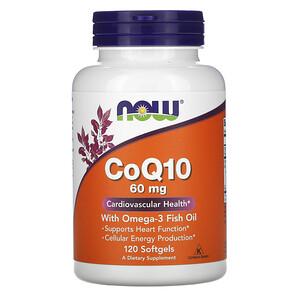 Now Foods, CoQ10 with Omega-3 Fish Oil, 60 mg, 120 Softgels отзывы покупателей