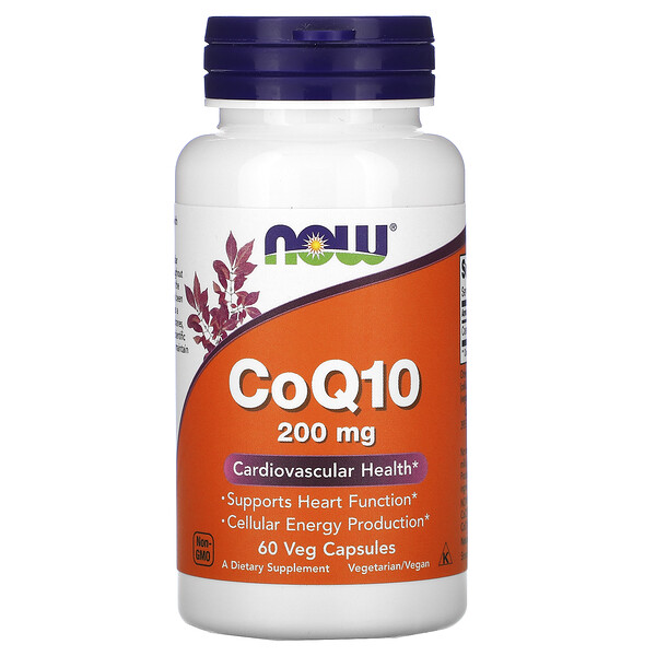 Now Foods, CoQ10, 200 mg, 60 Cápsulas Vegetais