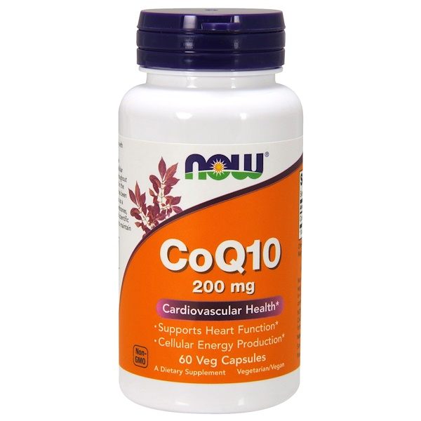 Now Foods, CoQ10, 200 mg, 60 cápsulas vegetarianas