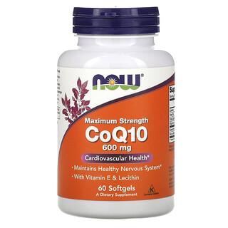 Now Foods, ビタミンE&レシチン配合CoQ10、マキシマムストレングス、600mg、ソフトジェル60粒