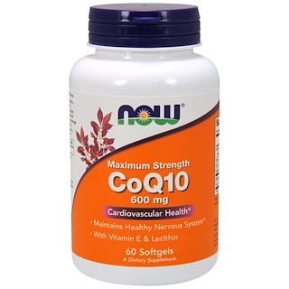 Now Foods, CoQ10, With Vitamin E & Lecithin, 600 mg, 60 Softgels