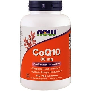 Now Foods, CoQ10, 30 mg, 240 Cápsulas Vegetais