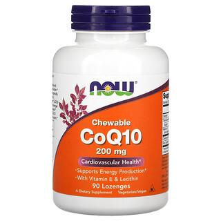 Now Foods, أقراص إنزيم Q10 المساعد القابلة للمضغ، 200 ملجم، 90 قرص استحلاب