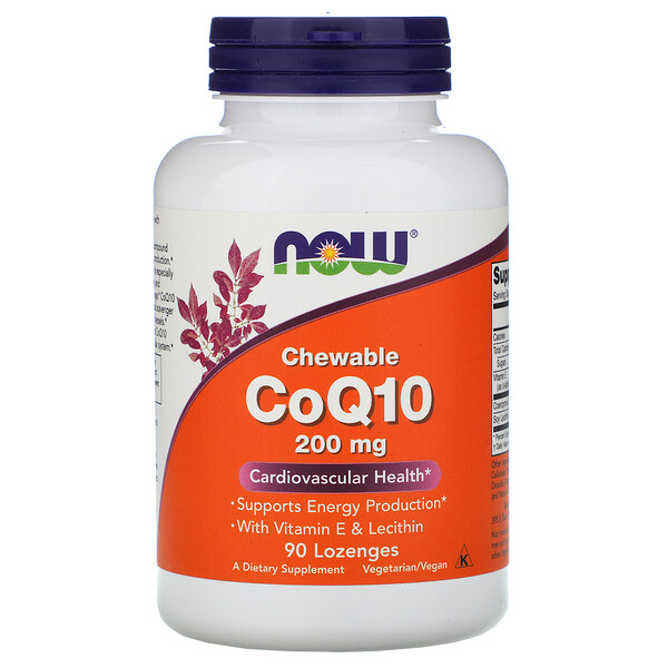 Now Foods, CoQ10 Chewable, 200 mg, 90 Lozenges