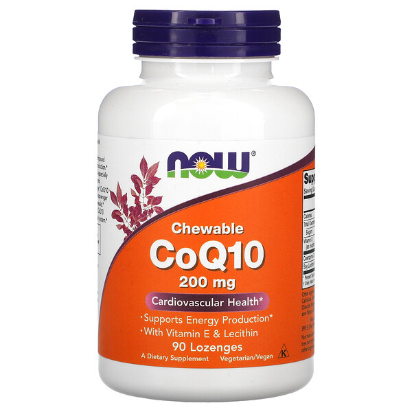Now Foods, CoQ10 masticable, 200 mg, 90 pastillas masticables