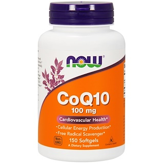 Now Foods, CoQ10, com vitamina E, 100 mg, 150 Softgels
