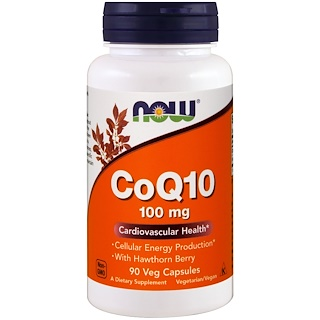 Now Foods, CoQ10, With Hawthorn Berry, 100 mg, 90 Veg Capsules