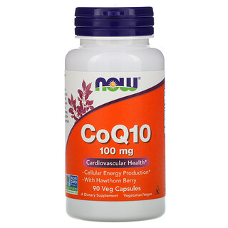 Now Foods, CoQ10 with Hawthorn Berry, 100 mg, 90 Veg Capsules