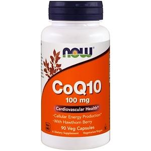 Now Foods, Коэнзим Q10 с боярышником, 100 мг, 90 растительных капсул инструкция, применение, состав, противопоказания