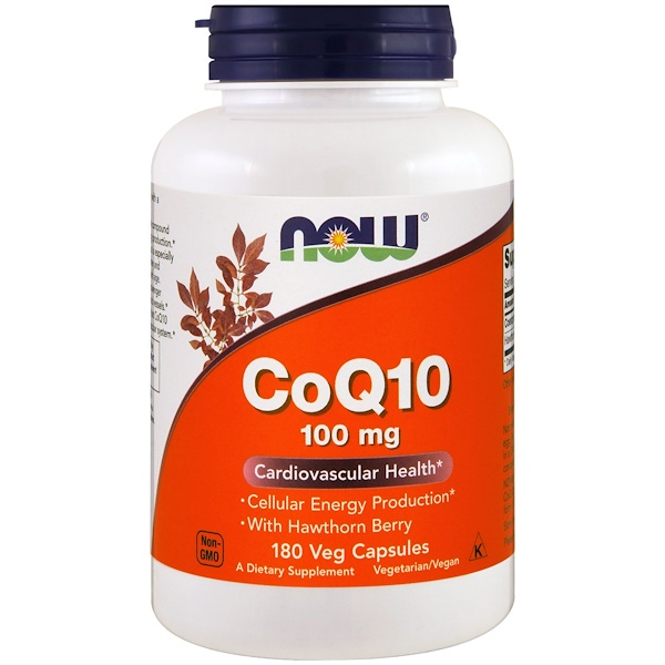 Now Foods, CoQ10, With Hawthorn Berry, 100 mg, 180 Veggie Caps