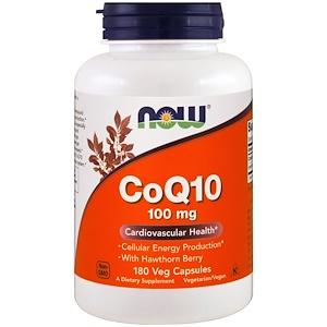 Now Foods, Коэнзим Q10, 100 мг, 180 капсул инструкция, применение, состав, противопоказания
