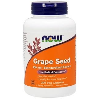 Now Foods, Стандартизованный экстракт из виноградных косточек, 100 мг, 200 капсул с покрытием растительного происхождения