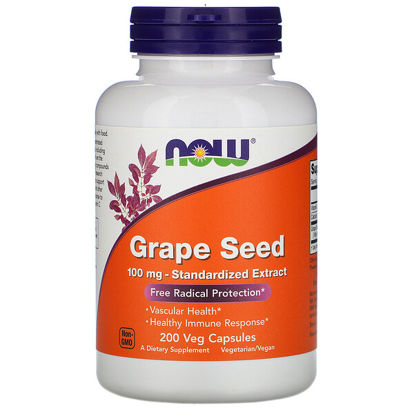 Now Foods, Grape Seed, Standardized Extract, 100 mg, 200 Veg Capsules