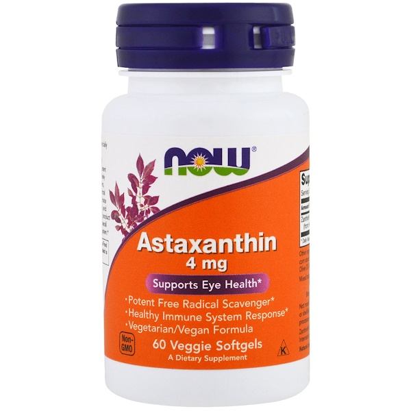 Now Foods, Astaxanthin, 4 mg, 60 vegetarische Softgels