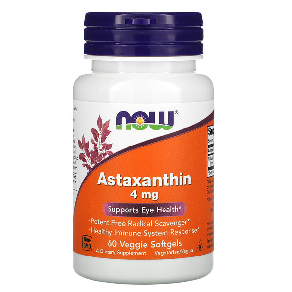 Now Foods, Astaxantina, 4 mg, 60 Cápsulas Softgel de Origem Vegetal