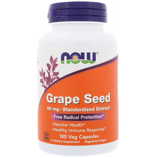 Now Foods, Grape Seed, Standardized Extract, 60 mg, 180 Veg Capsules