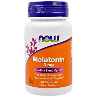 Now Foods, Mélatonine, 3 mg, 60 Gélules