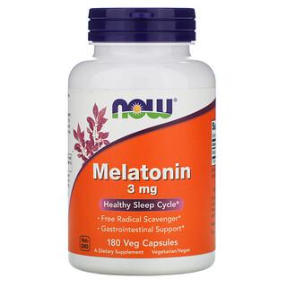 Now Foods, Melatonin, 3 mg, 180 Veg Capsules