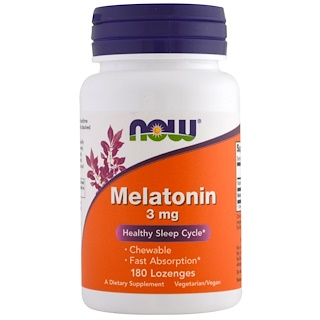 Now Foods, Melatonin، 3 ملغ، 180 قرص استحلاب