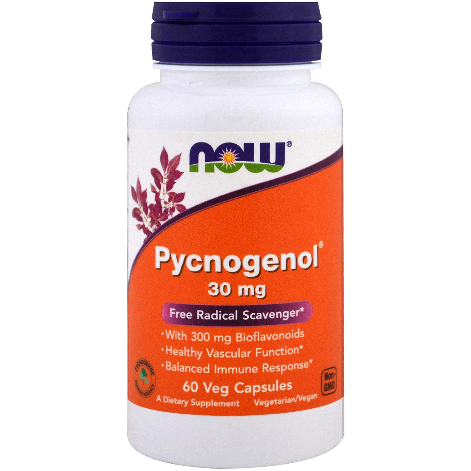 Now Foods, Pycnogenol, 30 мг, 60 капсул в растительной оболочке