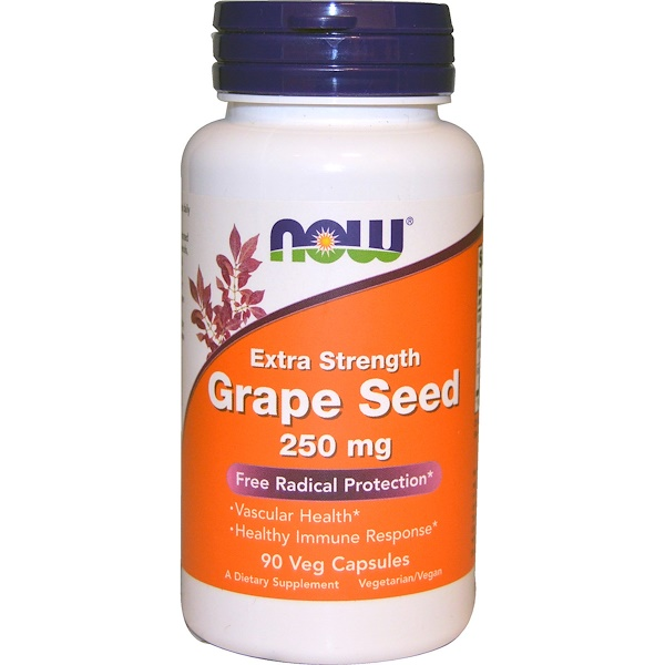 Now Foods, Grape Seed, Extra Strength, 250 mg, 90 Veg Capsules
