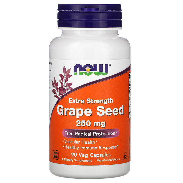 Now Foods, Extra Strength Grape Seed, 250 mg, 90 Veg Capsules