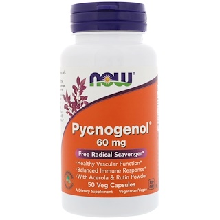 Now Foods, Pycnogenol,60 mg,50粒植物膠囊