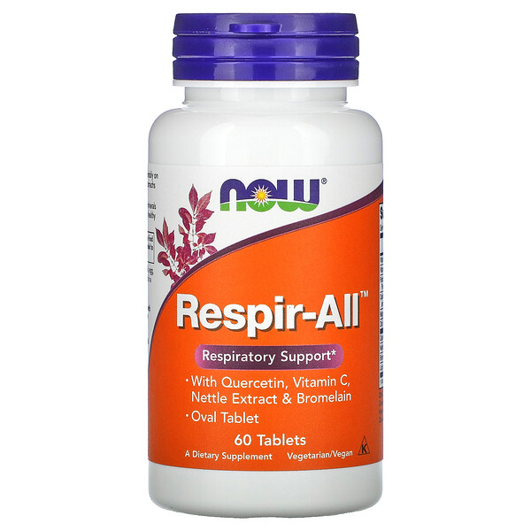 Now Foods, Respir-All، 60 قرصًا