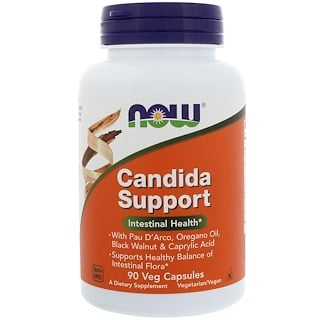 Now Foods, Candida Support, 90 cápsulas vegetais