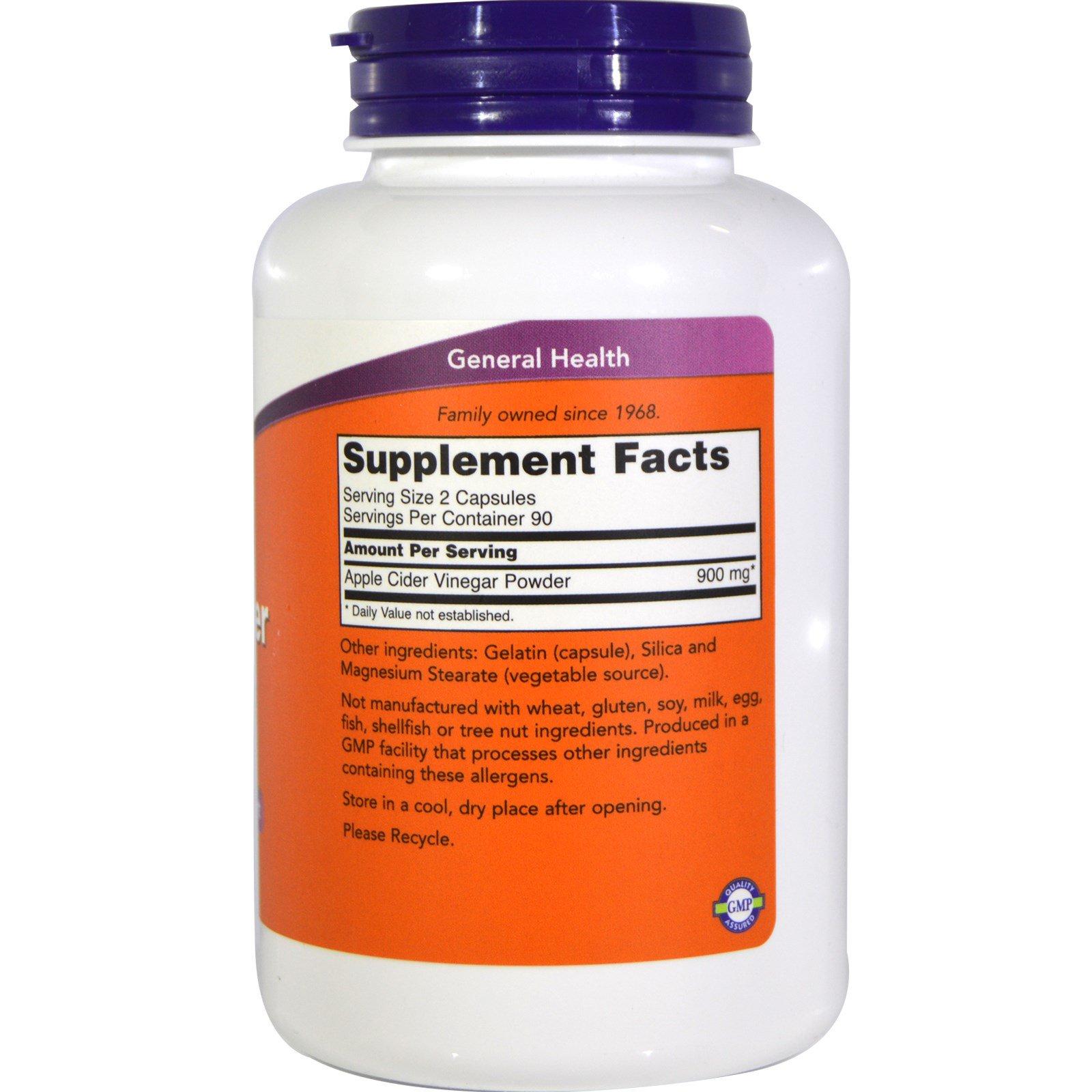 Now Foods, Apple Cider Vinegar, 450 mg, 180 Capsules - iHerb com