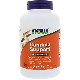 Now Foods, Candida Support, 180 Cápsulas Vegetais