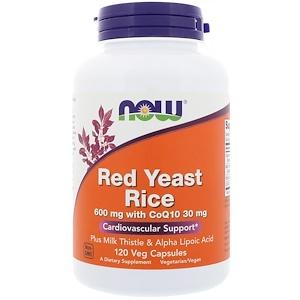 Now Foods, Красный ферментированный рис, 120 растительных капсул инструкция, применение, состав, противопоказания
