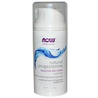 Now Foods, Progestérone naturelle, Crème pour la peau liposome, sans parfum, 3 oz (85 g)