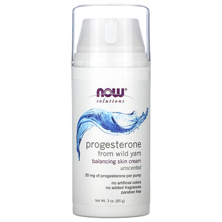 Now Foods, Solutions, Progesterone from Wild Yam, Balancing Skin Cream, Unscented, 20 mg, 3 oz (85 g)
