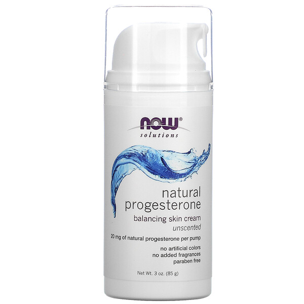 Now Foods, Solutions, Natural Progesterone, Balancing Skin Cream, Unscented, 20 mg, 3 oz (85 g)