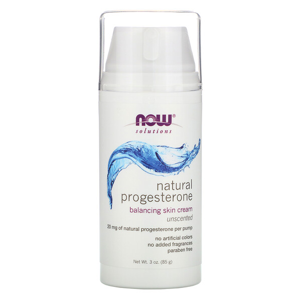Now Foods, Natural Progesterone, Liposomal Skin Cream, Unscented, 3 oz (85 g)