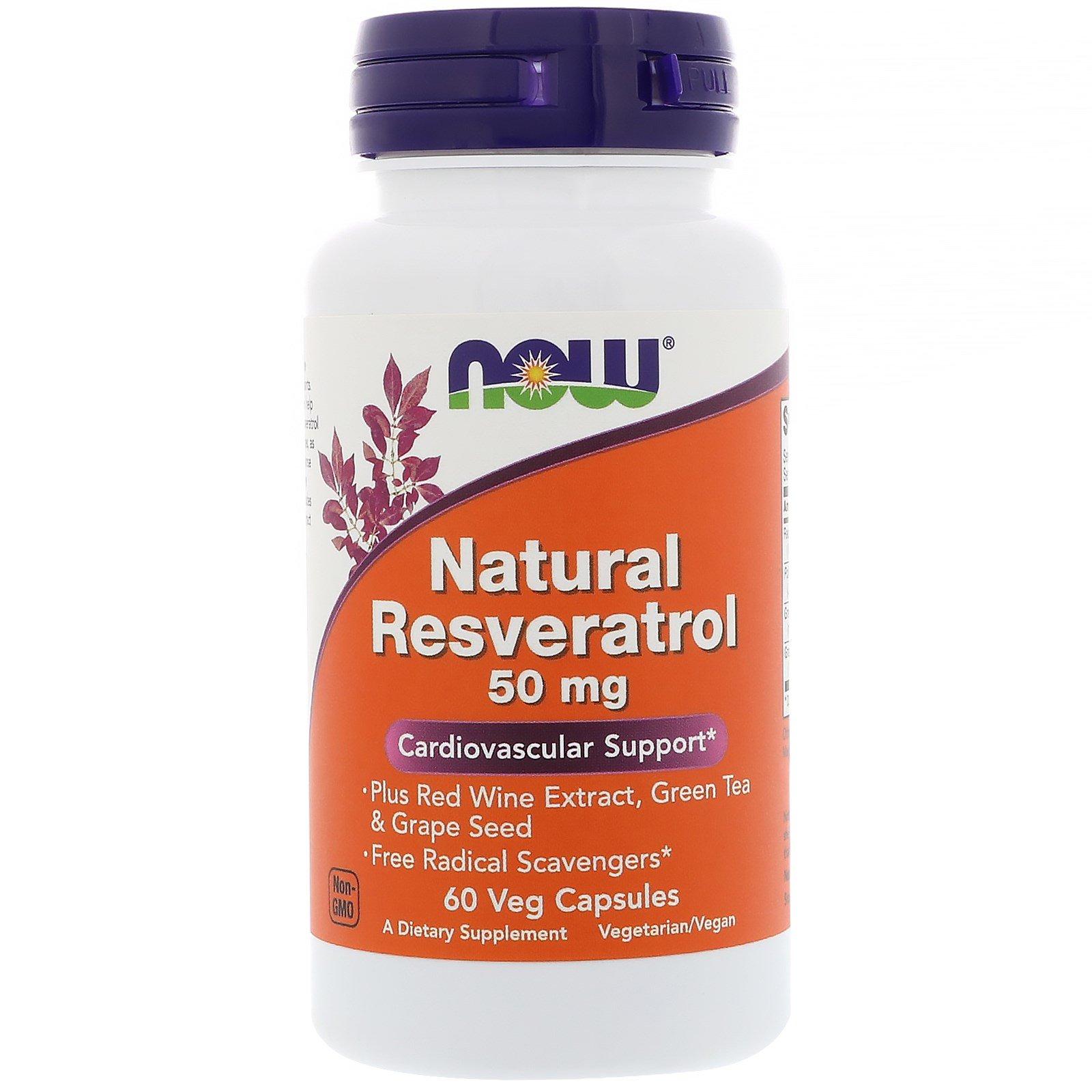 Now Foods, Натуральный ресвератол, 50 мг, 60 растительных капсул