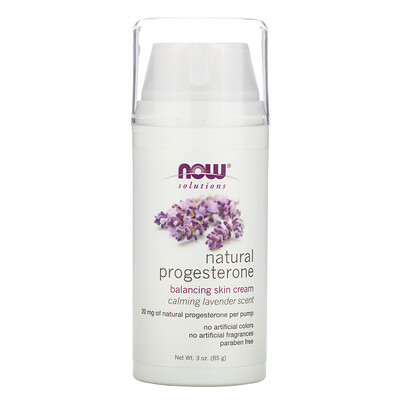 Now Foods Solutions, Natural Progesterone, Balancing Skin Cream, Calming Lavender Scent, 3 oz (85 g)  - купить со скидкой