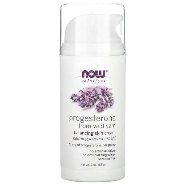 Now Foods, Solutions, крем для восстановления баланса кожи с прогестероном из дикого ямса, с успокаивающим ароматом лаванды, 85г (3унции)