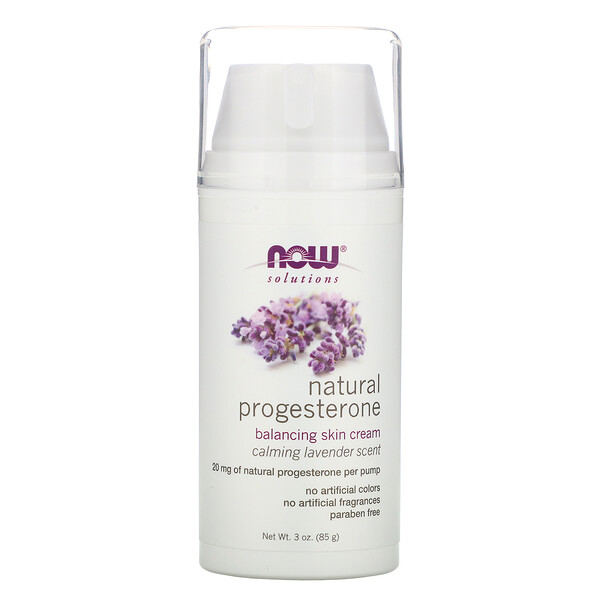 Now Foods, Solutions, Natural Progesterone, Balancing Skin Cream, Calming Lavender Scent, 3 oz (85 g)