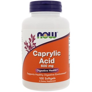 Now Foods, Acide caprylique, 600 mg, 100 gélules